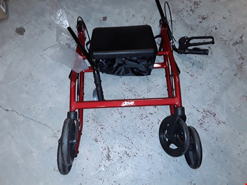Lot 212 DRIVE R8 RED ALUMINIUM ROLLATOR WITH PADDED SEAT AND VINYL UNDERSEAT BAG