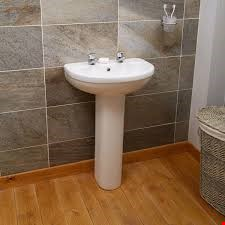 Lot 13762 BOXED BRAND NEW IMPRESSIONS WHITE 2 TAP HOLE BASIN