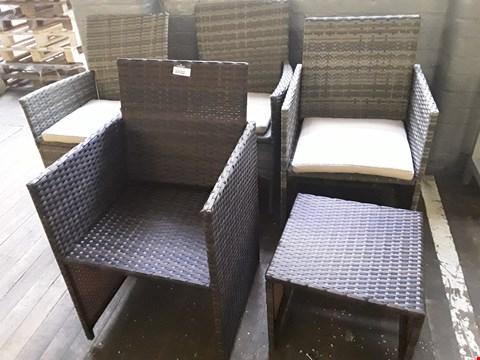 Lot 12122 FOUR RATTAN EFFECT PATIO CHAIRS & FOOTSTOOL