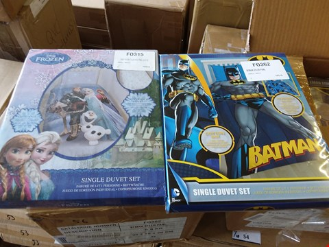Lot 56 LOT OF 4 BOXES OF ASSORTED BEDDING TO INCLUDE BATMAN AND DISNEY'S FROZEN APPROX 20