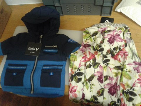 Lot 30 A BOX OF APPROXIMATELY 15 ASSORTED CLOTHING ITEMS TO INCLUDE A BLUE JACKET SUITABLE FOR A 3-6 MONTHS OLD AND A FLORAL PRINT DRESS