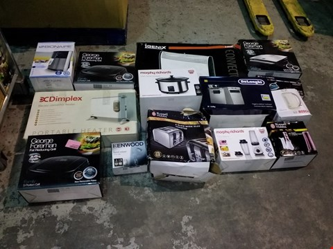 Lot 8105 PALLET OF ASSORTED PRODUCTS TO INCLUDE INGENIX CONVECTOR RADIATOR, GEORGE FOREMAN GRILL, DELONGHI COFFEE MACHINE, RUSSELL HOBBS STEAM IRON, BIONAIRE HEATER, BOSCH KETTLE ETC