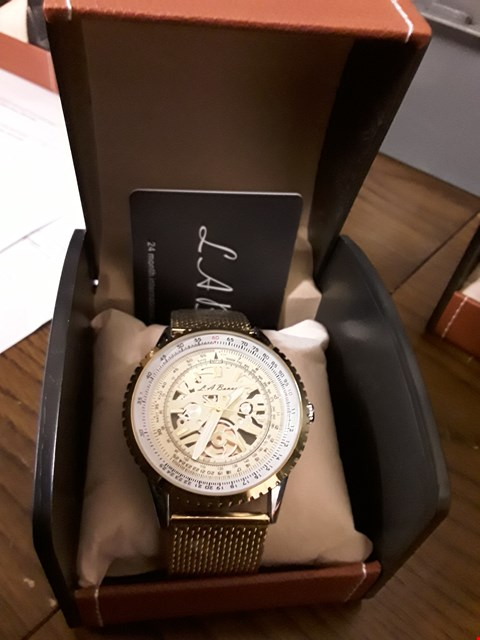 Lot 39 DESIGNER LA BANUS SKELETON DIAL WATCH WITH STAINLESS STEEL GOLD COLOURED SHARK MESH STRAP RRP £599