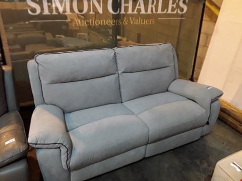 Lot 9041 DESIGNER NATURAL FABRIC MANUAL RECLINING THREE SEATER SOFA WITH CONTRAST TRIM