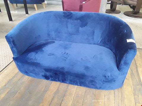 Lot 46 DESIGNER IMOGEN BLUE VELVET TWO SEATER TUB SOFA