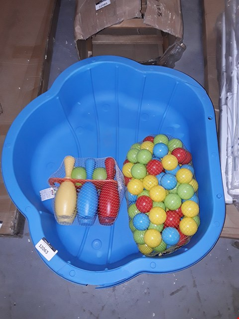 Lot 12063 LOT OF 2 BABIE'S BALL POOLS WITH BALLS AND BOWLING SET