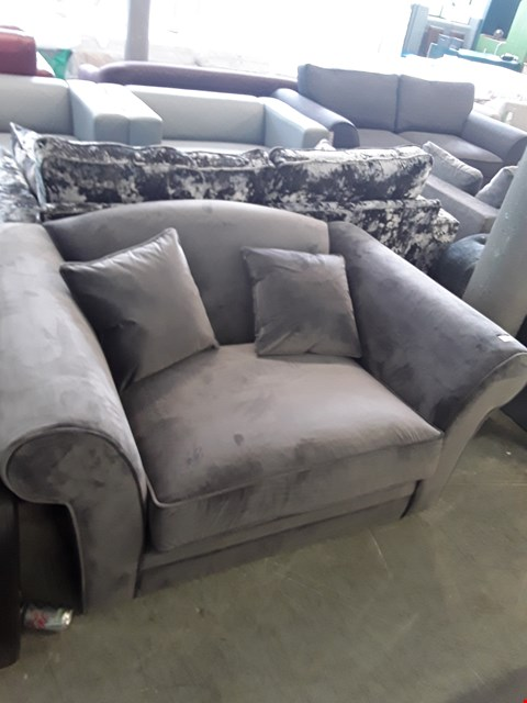 Lot 60 DESIGNER GREY PLUSH VELVET SNUGGLE CHAIR