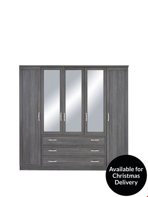 Lot 2038 BOXED GRADE 1 CAMBERLEY 5 DOOR 3 DRAWER MIRRORED WARDROBE WHITE ( 3 BOXES )