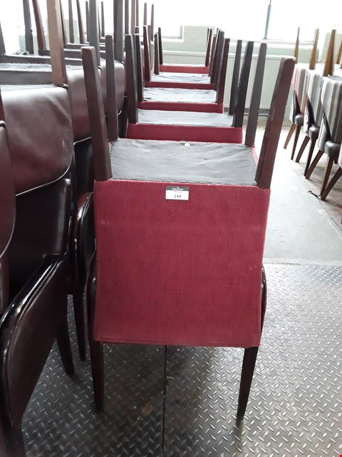 Lot 149 LOT OF APPROXIMATELY 12 ASSORTED CAFE STYLE WOODEN FRAMED FABRIC ARMCHAIRS