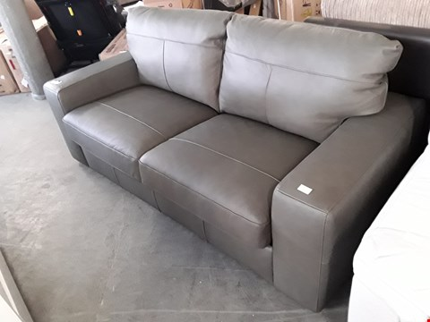 Lot 333 DESIGNER GREY LEATHER 3 SEATER SOFA