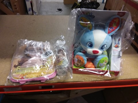 Lot 7201 2 ITEMS BEAUTY AND THE BEAST BACK PACK AND WATER BOTTLE AND A BABY CLEMENTONI INTERACTIVE BUNNY RRP £48.00