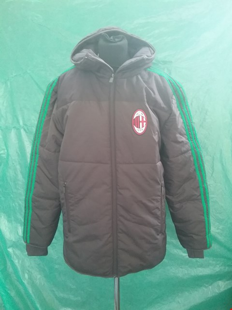 Lot 4142 ADIDAS AC MILAN CHAMPIONS LEAGUE OFFICIAL PADDED COAT WITH HOOD SIZE S