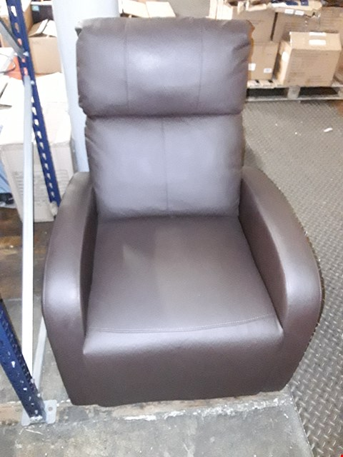 Lot 10094 BROWN FAUX LEATHER MANUAL RECLINER CHAIR