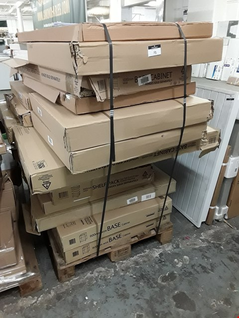Lot 73 PALLET OF APPROXIMATELY 23 ASSORTED ITEMS TO INCLUDE BASE CABINETS AND WALL CABINETS RRP £818