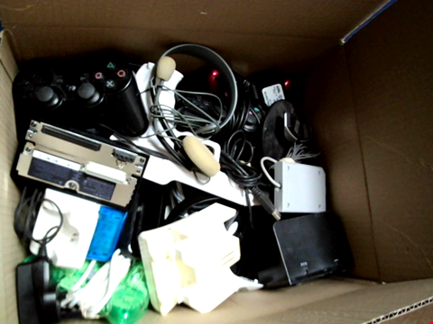 Lot 15663 BOX OF ASSORTED GAMES CONTROLLERS AND CABLES ETC