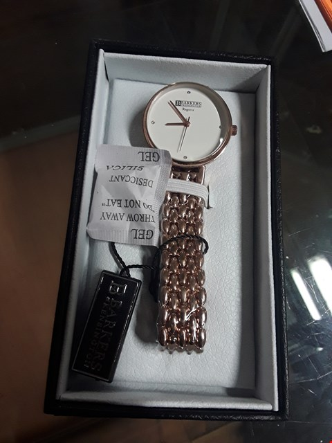 Lot 58 BRAND NEW BARKERS OF KENSINGTON REGATTA ROSE GOLD COLOURED METAL STRAP WATCH WITH WHITE FACE  RRP £315