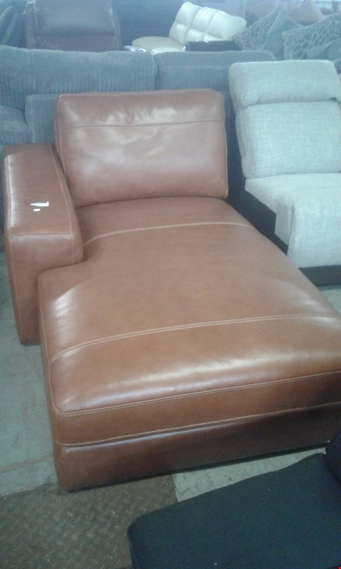 Lot 592 QUALITY DESIGNER TAN FAUX LEATHER CHAISE SOFA SECTION