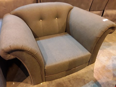 Lot 513 DRSIGNER GREY FABRIC SNUGGLE CHAIR
