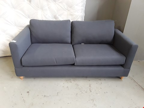 Lot 2003 QUALITY BRITISH DESIGNER NAVY FABRIC 3 SEATER SOFA