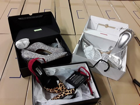 Lot 19 BOX OF APPROXIMATELY 8 ITEMS OF ASSORTED FOOTWEAR TO INCLUDE; RAYNE ASSYMETRIC FLAT SANDAL ROSE GOLD, SUPERDRY SKIPPER SHOE, ALDO CIASA METALLIC STRAP HEELED SANDAL, MINI HANNAH FRILL TRIM CHELSEA BOO RRP £412