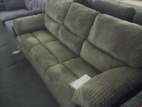 Lot 82 DESIGNER CORDED BROWN FABRIC 3 SEATER SOFA