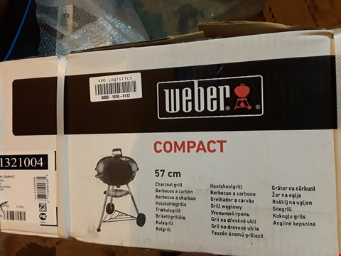 Lot 9097 BOXED WEBER COMPACT 57cm CHARCOAL GRILL