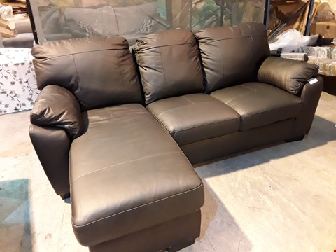 Lot 14 DESIGNER BROWN FAUX LEATHER CHAISE SOFA