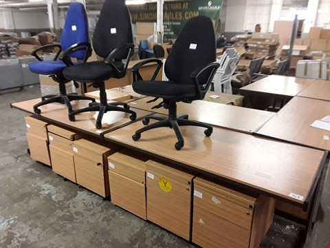 Lot 768 LOT OF 11 ASSORTED PIECES OF OFFICE FURNITURE INCLUDES 2 DESKS, 3 CHAIRS AND 6 CABINETS
