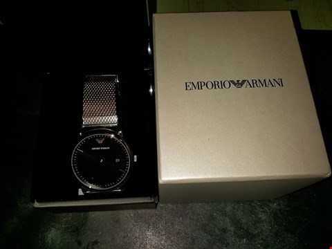 Lot 2087 EMPORIO ARMANI BLACK SUNRAY AND ROSE GOLD DETAIL DIAL STAINLESS STEEL MESH STRAP WATCH RRP £259.00
