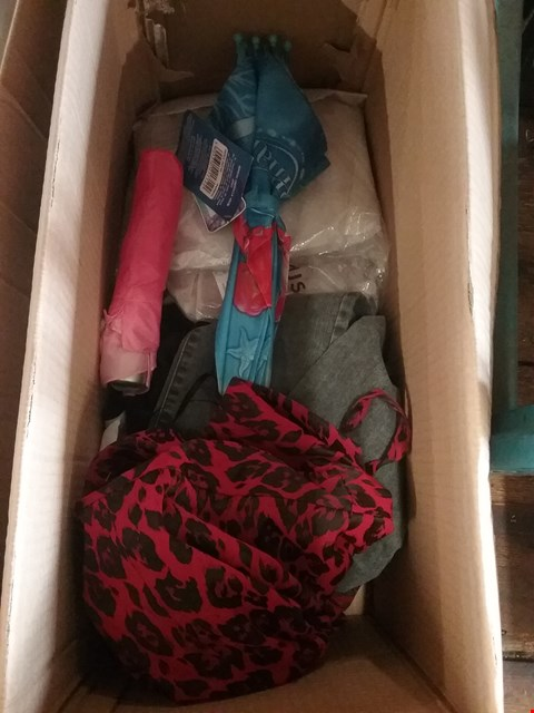 Lot 1319 A BOX OF ASSORTED CLOTHING  TO INCLUDE - JEANS RED DRESS