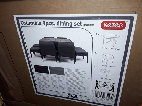 Lot 1030 BOXED KETER COLUMBIA 9PIECE DINING SET (2 BOXES) RRP £425.00
