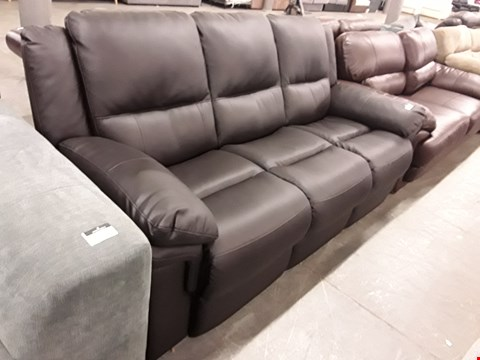 Lot 351 DESIGNER DARK BROWN FAUX LEATHER 3 SEATER SOFA
