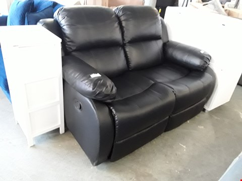 Lot 330 DESIGNER BLACK FAUX LEATHER MANUAL RECLINING 2 SEATER SOFA