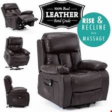 Lot 111 BOXED DESIGNER CHESTER PUSHBACK RECLINING BROWN LEATHER EASY CHAIR  RRP £299.99