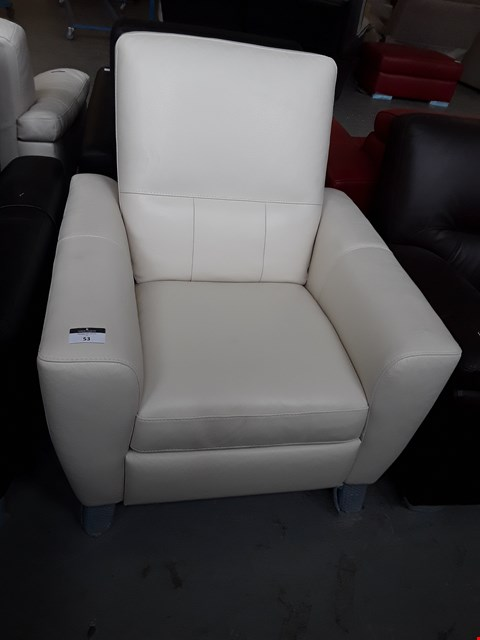 Lot 53 BRAND NEW QUALITY ITALIAN DESIGNER CREAM LEATHER POWER RECLINING ARMCHAIR