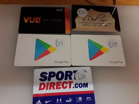 Lot 64 5 ASSORTED GIFT CARDS TO INCLUDE VUE, THE RED CARPET, GOOGLE PLAY AND SPORTS DIRECT TOTAL VALUE £115