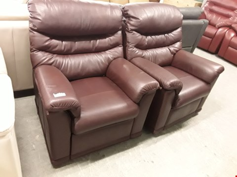 Lot 12519 QUALITY BRITISH MADE, HARDWOOD FRAMED BURGUNDY LEATHER POWER RECLINING ARMCHAIR AND MANUAL RECLINING ARMCHAIR