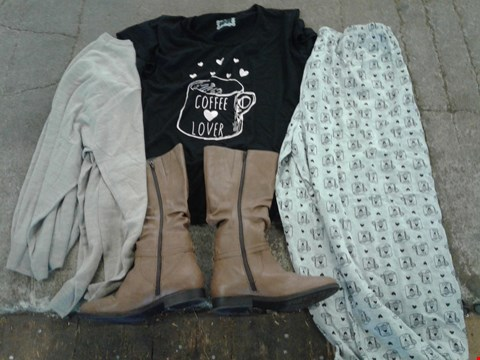 Lot 223 BOX OF APPROXIMATELY 13 CLOTHING AND SHOES TO INCLUDE BROWN KNEE LENGHT BOOTS, BEIGE JUMPER AND GREY COFFEE LOVER PATTERN PYJAMA BOTTOMS WITH BLACK COFFE LOVER SHIRT - VARIOUS SIZES