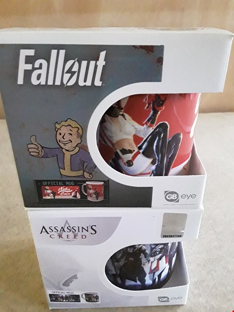 Lot 34 2 BRAND NEW BOXED ASSORTED GAMING MUGS TO INCLUDE FALLOUT MUG, ASSASSIN'S CREED MUG