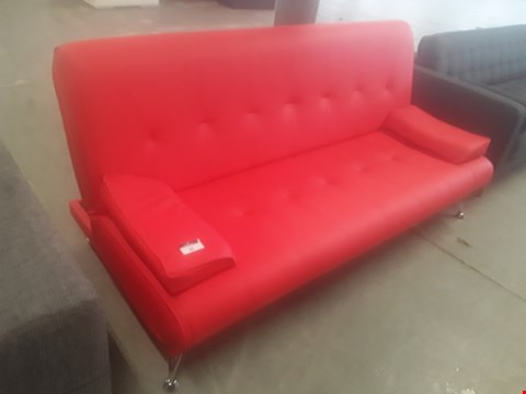 Lot 63 DESIGNER VENICE RED FAUX LEATHER SOFABED ON CHROME FEET RRP £179.99