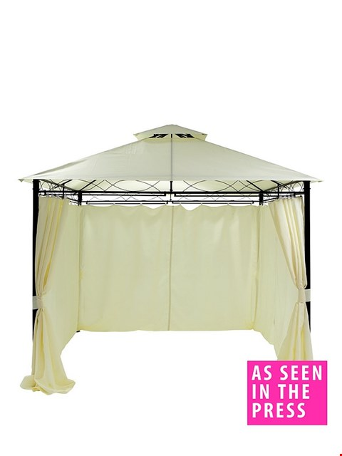 Lot 7095 BOXED GRADE 1  3X3M METAL GAZEBO WITH SIDES -OFF WHITE (1 BOX)