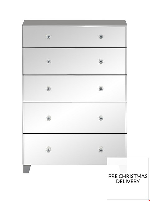 Lot 2054 BOXED GRADE 1 BELLAGIO 5 DRAWER CHEST GREY/MIRRORED