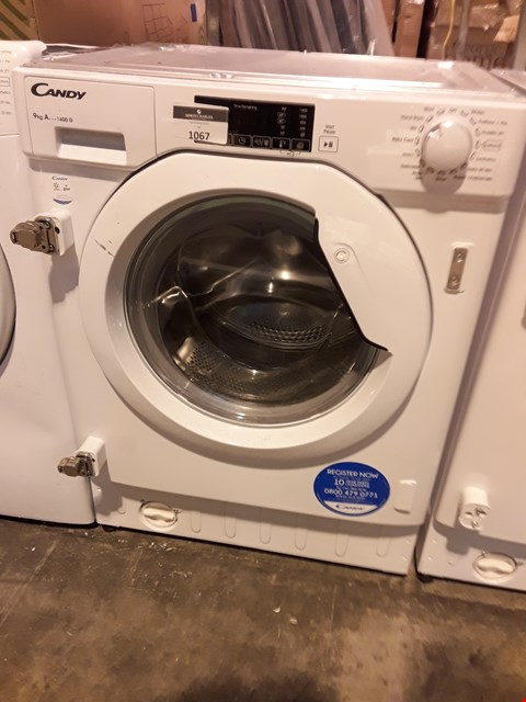 Lot 1067 CANDY WHITE 9kg INTEGRATED WASHING MACHINE