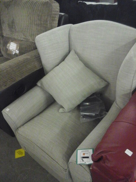 Lot 92 DESIGNER GREY FABRIC WING BACK CHAIR WITH CUSHION