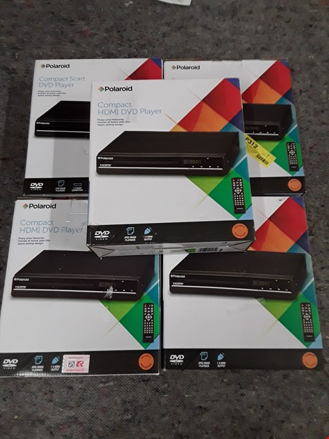 Lot 1380 LOT OF 5 ASSORTED POLAROID DVD PLAYERS