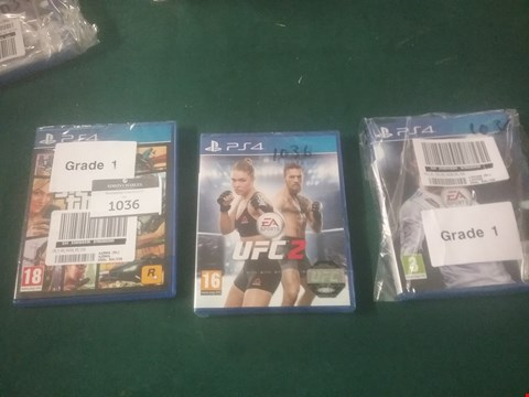 Lot 1036 LOT OF THREE GRADE 1 PS4 VIDEO GAMES TO INCLUDE GTA V, UFC 2 AND FIFA 18