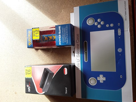 Lot 11148 BOX OF APPROXIMATELY 15 VIDEO GAME ITEMS TO INCLUDE WII U SILICONE CASE, ORB NINTENDO SWITCH STAND AND POKEMON POWER BANK