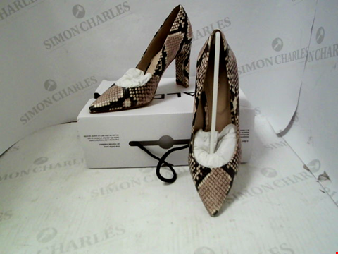 Lot 65 BOXED PAIR OF DESIGNER ALDO FEBRICLYA SNAKE PRINT HEELS - UK SIZE 4
