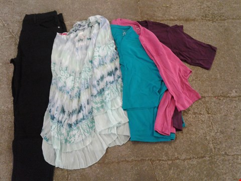 Lot 226 BOX OF APPROXIMATELY 15 CLOTHING ITEMS TO INCLUDE PURPLE/PINK/BLUE SET OF 3 SHIRTS, BLUE/GREEN PATTERN TOP AND BLACK TROUSERS - VARIOUS SIZES