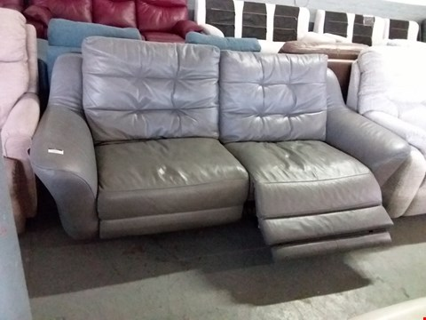Lot 23 QUALITY BRITISH MADE HARDWOOD FRAMED GREY LEATHER ELECTRIC RECLINING 3 SEATER SOFA